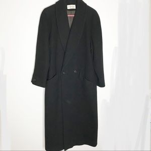 Preston & York 100% wool black trench coat jacket
